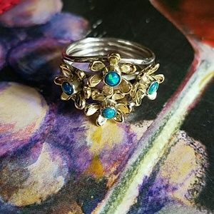 Fire Opal Flowers Ring Sterling Silver NEW